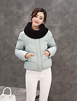 Women's Solid Multi-color Padded CoatSimple / Cute / Street chic Stand Long Sleeve