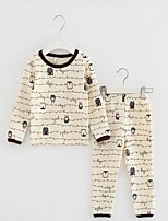 Мальчик Набор одежды / Пижамы,На каждый день,Цветочный принт,Хлопок,Зима / Весна / Осень,Бежевый