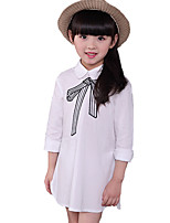 Girl's Casual/Daily Solid DressCotton Fall White