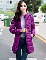 Women's Solid Red / Black / Purple Down CoatSimple Hooded Long Sleeve