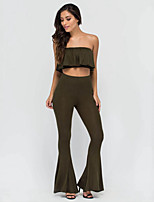 Women's Casual/Daily Sexy Summer T-shirt Pant Suits,Solid Boat Neck Sleeveless Green Polyester Thin