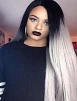 Fashion Ombre Long Straight Synthetic Lace Front Wig Glueless TwoTone Dark Black/Gray Women Wigs