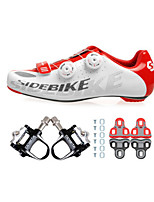 Cycling Shoes Unisex Outdoor / Road Bike 02 Sneakers Damping / Cushioning White / Red-sidebike And Black Lock Pedals