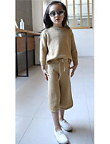 Girl's Casual/Daily Solid Clothing SetCotton Spring Pink / Yellow