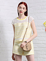I'HAPPY Women's Going out Simple Summer Set PantStriped Round Neck Short Sleeve Black / Yellow