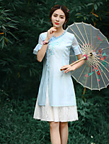 Our Story Going out Chinoiserie Sheath DressEmbroidered Round Neck Knee-length Short Sleeve Blue Polyester Summer