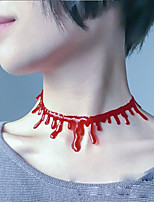 3PCS Halloween Costumes  Bloody Cut Blood Necklace Bring to Adjust Chain Simulation Bleed Blood Dripping Blood Necklace