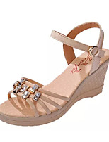 Women's Sandals Summer Sandals PU Casual Wedge Heel Buckle Black / Blue / White / Beige Others