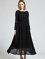 BORME Women's Round Neck Long Sleeve Maxi Dress-Y037