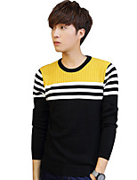 Men's Striped Casual / Sport PulloverCotton Long Sleeve Red / Yellow / Beige