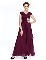Lanting Bride®A-line Mother of the Bride Dress Ankle-length Sleeveless Chiffon with Criss Cross / Crystal Brooch / Ruching