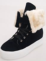 Mujer-Tacón Plano-Confort Botas de Nieve-Botas-Exterior Informal Fiesta y Noche-Cuero-Negro Bermellón Beige