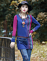 Our Story Going out Vintage Loose DressPaisley Round Neck Above Knee Long Sleeve Blue Rayon / Polyester