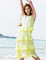LIANGSANSHI Women's Beach Simple Shift Dress,Solid / Floral Strap Midi Sleeveless Green Polyester Summer