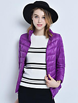Women's Solid Frivolous Plus Size Warm Slim Down Coat Simple Stand Long Sleeve