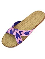 Unisex Slippers & Flip-Flops Summer Slingback Polyester Casual Flat Heel Others Blue Brown Purple Fuchsia Others