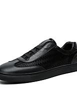 Herren-Flache Schuhe-Büro / Lässig-Leder-Flacher Absatz-Flache Schuhe-Schwarz / Schwarz und Weiss