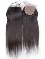 10inch to 20inch Черный 4x4 Закрытие Естественные прямые Человеческие волосы закрытие Умеренно-коричневый Швейцарское кружево about 30g