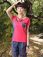 Our Story Going out Vintage Summer T-shirtColor Block / Embroidered Round Neck Short Sleeve Red Cotton Medium