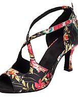 Customizable Women's Dance Shoes Satin Latin / Salsa Sandals / Heels Customized Heel Indoor / Performance Black
