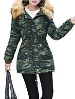 ארוך מרופד מעיל נשים,להסוות סגנון רחוב יום יומי\קז'ואל / מידות גדולות פוליאסטר פוליפרופילן-שרוול ארוך עם קפוצ'ון ירוק / צהוב