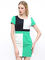 I'HAPPY Women's Work Simple Bodycon DressColor Block Round Neck Above Knee Short Sleeve