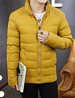 Men's Regular Padded CoatCotton Solid Long Sleeve