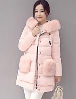 Women's Patchwork Blue / Pink / Black / Gray Padded CoatSimple Hooded Long Sleeve