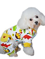 Dog Clothes/Jumpsuit Pajamas Dog Clothes Winter Spring/Fall Cartoon Casual/Daily Yellow Red Blue