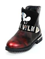 Черный / Коричневый / Красный-Для девочек-Для прогулок / На каждый день-Полиуретан-На плоской подошве-С круглым носком / Модная обувь-