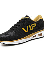 Men's Sneakers Spring Fall Tulle Athletic Flat Heel Lace-up Black Blue Gray Running