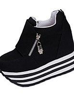 Women's Heels Spring / Fall Round Toe Fabric Casual Wedge Heel Zipper Black / Red / White Others