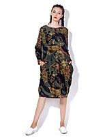Women's Going out / Casual/Daily Vintage / Boho Loose DressPrint Round Neck Midi Long Sleeve Red / Green Cotton