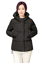 Women's Solid White / Black / Gray / Green Padded Coat,Simple / Cute Hooded Long Sleeve