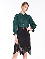 Goelia Women's Shirt Collar 3/4 Length Sleeve Shirt & Blouse White / Green-167C3E020