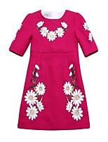 Girl's Casual/Daily Embroidered DressPolyester Summer / Spring / Fall Red