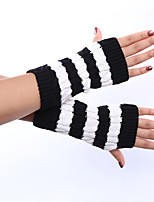 Women's Winter Wool Knitting Twist Stripe Gloves