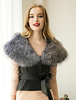 Women's Casual/Daily Street chic Fur CoatSolid Round Neck Sleeveless Fall / Winter  Faux Fur / PU Thick Fur Vest