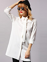 Newbefore Women's Casual/Daily Simple Shirt DressSolid Shirt Collar Above Knee  Sleeve