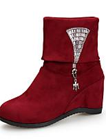 Women's Dance Shoes Boots Velvet Rhinestone Breathable Chunky Heel Black/Red