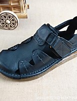 Men's Sandals Summer Leather Casual Flat Heel Others Black Brown Tan Others