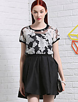 I'HAPPY Women's Going out Vintage Summer Set SkirtFloral Round Neck Short Sleeve Black Rayon / Polyester Opaque