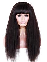 8-12 дюймов braizlian девственной Remy человеческих волос бесклеевой / фронта шнурка Kinky прямые парики с полным ударом для