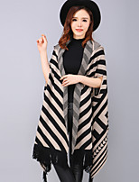 YANG X-M Women's Casual/Daily Simple Spring / Fall Cloak/CapesStriped V Neck Length Sleeve