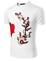 Masculino Camiseta Algodão / Linho / Elastano Estampado / Cor Solida Manga Curta Casual / Escritório / Formal / Esporte / Tamanhos Grandes