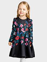 Girl's Casual/Daily Floral DressCotton / Polyester Winter / Fall Black
