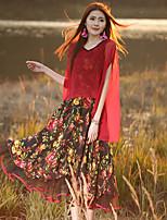 Ample Robe Femme Sortie Vintage,Fleur Col en V Midi Manches Courtes Rouge Polyester Eté Taille Normale Micro-élastique Moyen