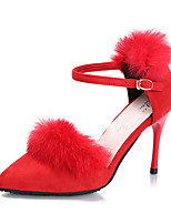 Women's Heels Spring / Summer / Fall Heels Suede / Fur Casual Stiletto Heel Buckle Black / Red / Gray Walking