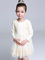 Girl's Casual/Daily Solid DressCotton / Polyester Winter / Spring / Fall Pink / Beige