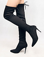 Women Stretch Faux Suede Slim Thigh High Boots Sexy Fashion Over the Knee Boots High Heels Woman Shoes Black